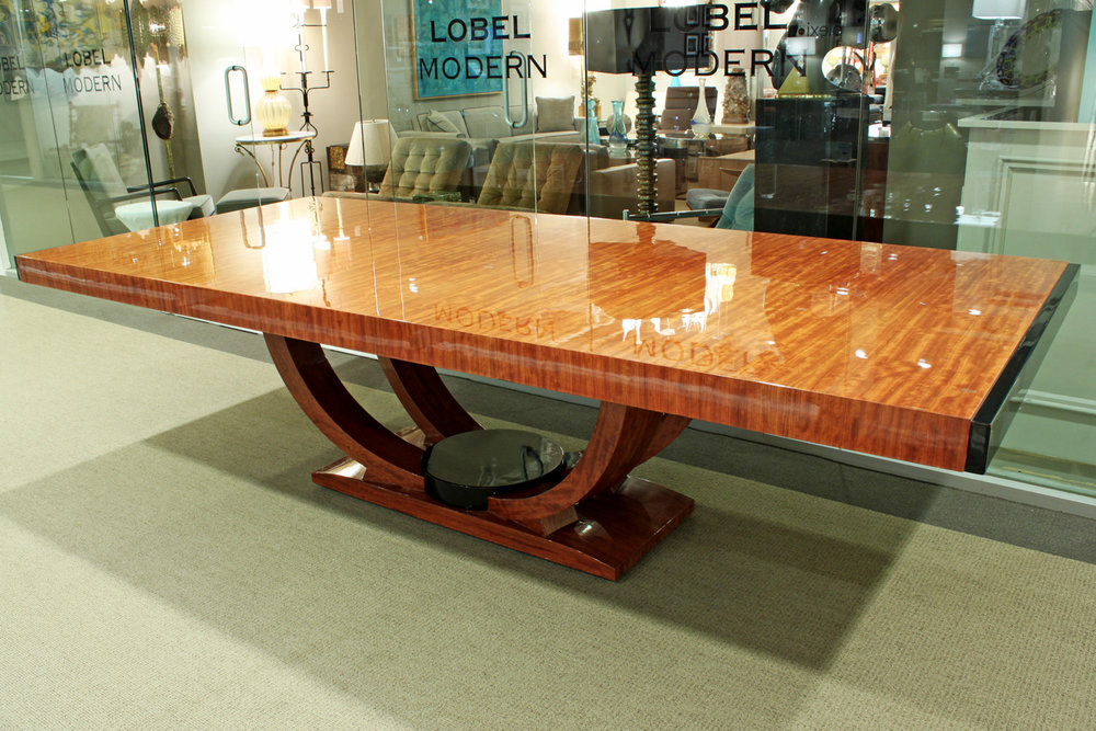 "Karl Springer ""Art Deco Dining Table"" In Bubinga (African"