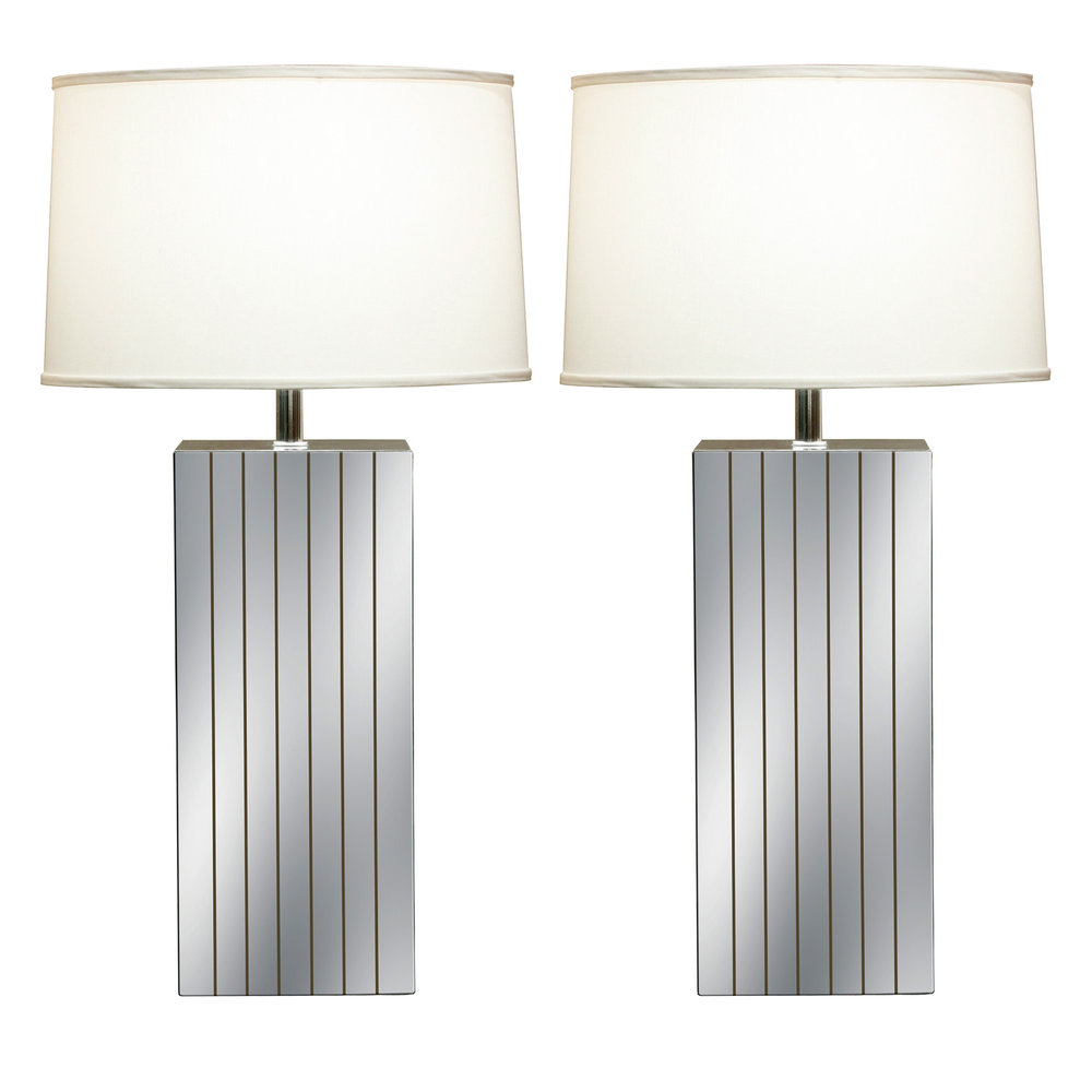 Table Lamps With Mirrored Panels 1970s   SOLD