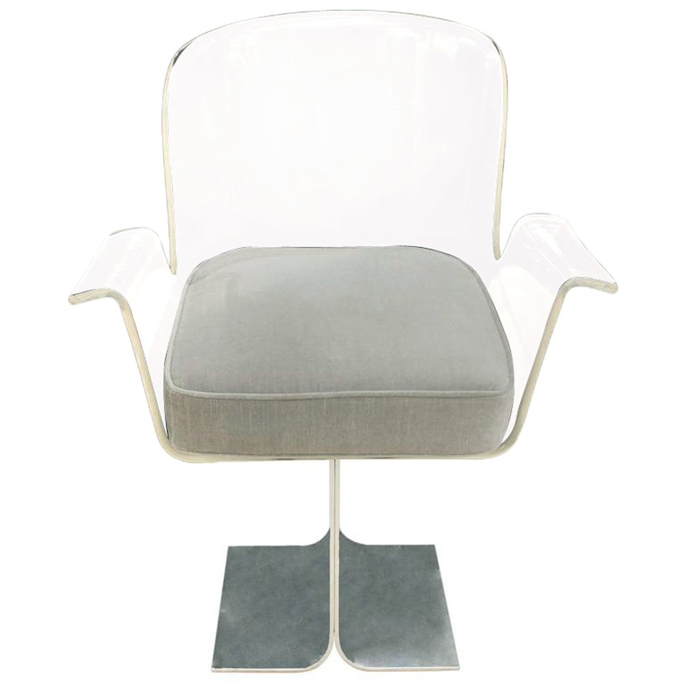 Attrayant Pace Collection Desk Chair With Swiveling Lucite Seat 1970s U2014 Lobel Modern  NYC