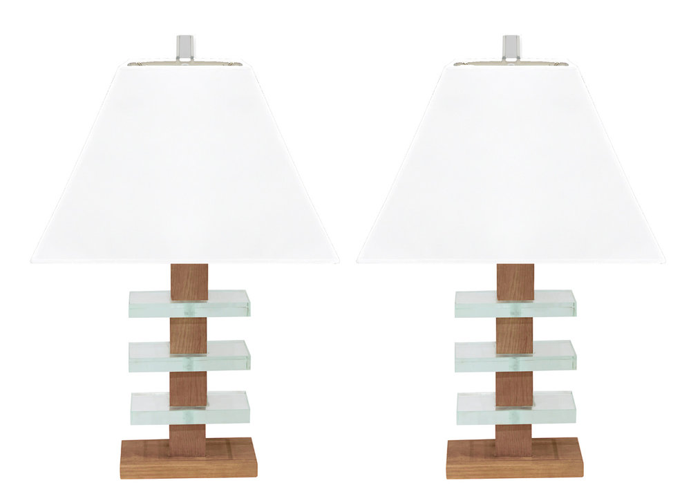 Modernist glass and mahogany table lamps attributed to modernage sold lobel modern nyc