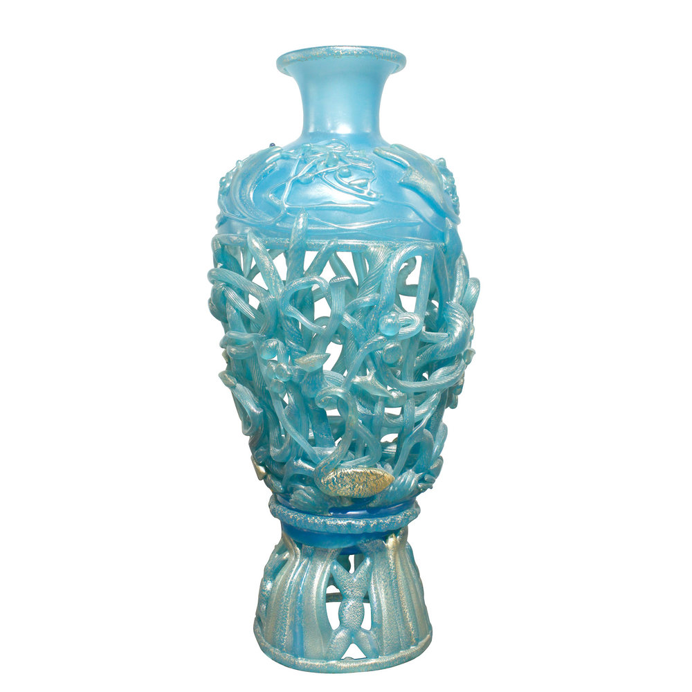 Ermanno nason hand blown vase in opalescent blue glass gold ermanno nason hand blown vase in opalescent blue glass gold overlay 1967 lobel modern nyc reviewsmspy