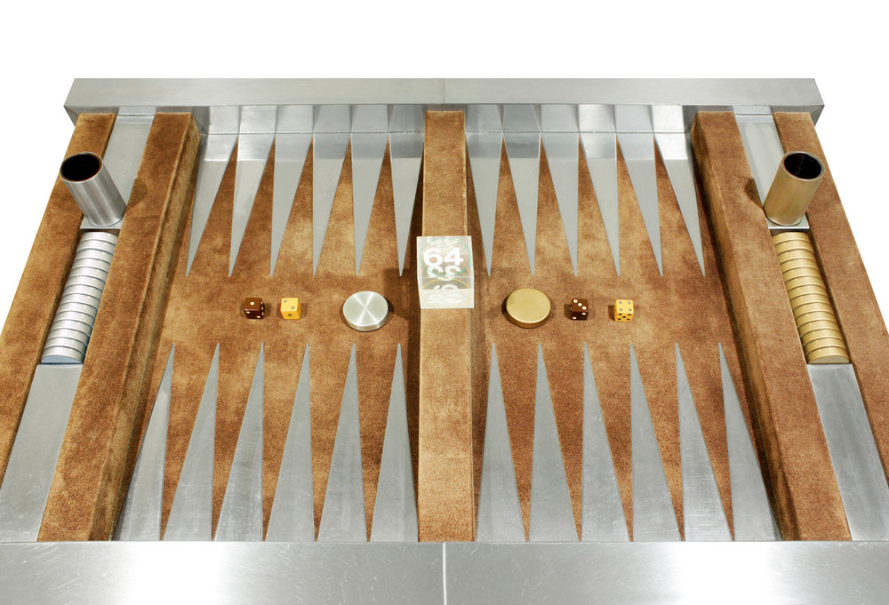 Evans 150 steel+suede backgammon gametable51 top w pieces.jpg
