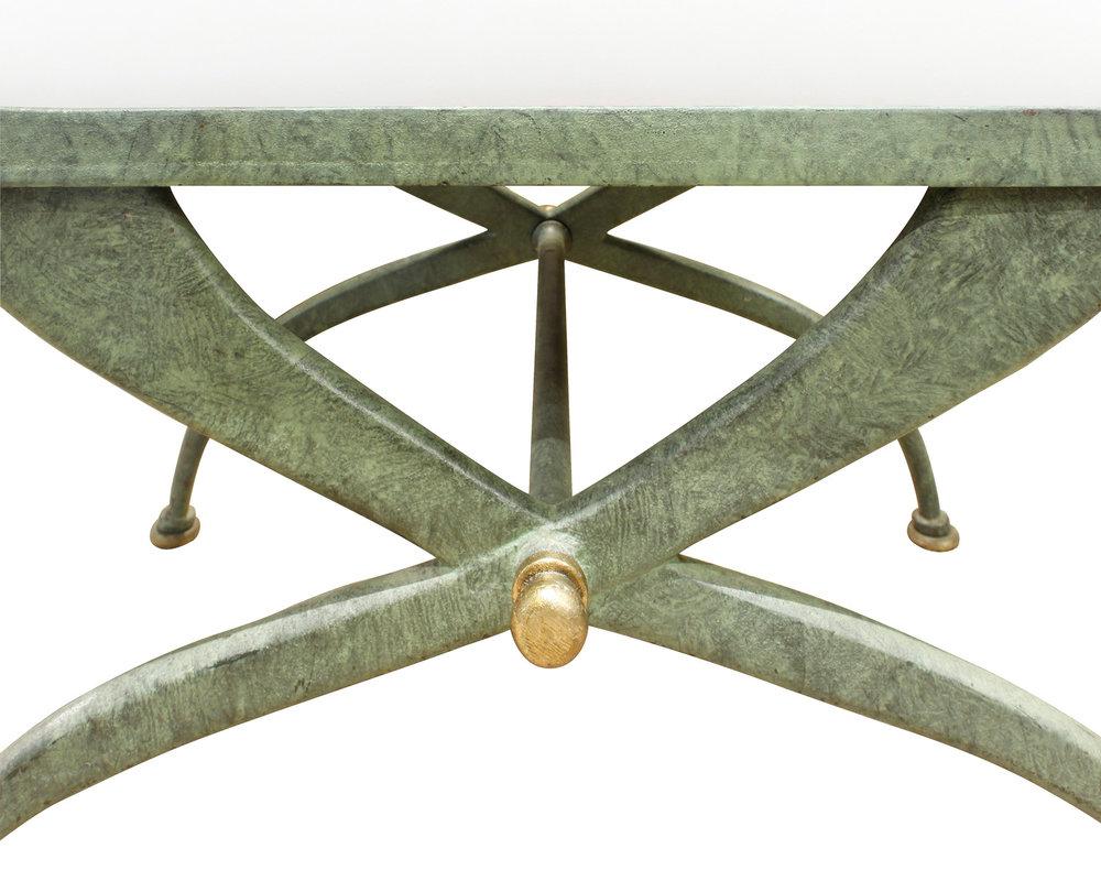 70s verdigris wrought iron X bench132 fnt dtl.jpg