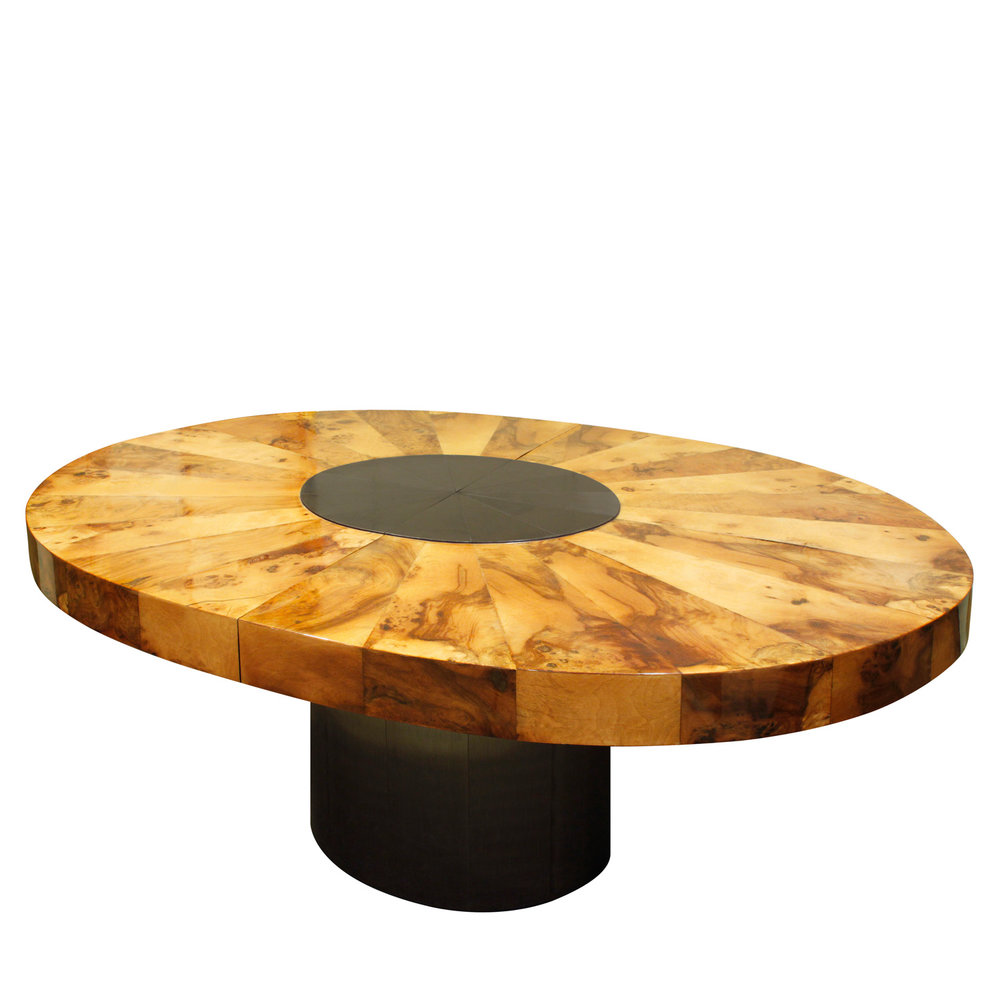 Evans 220 oval burl+black chrome diningtable162 agl.jpg