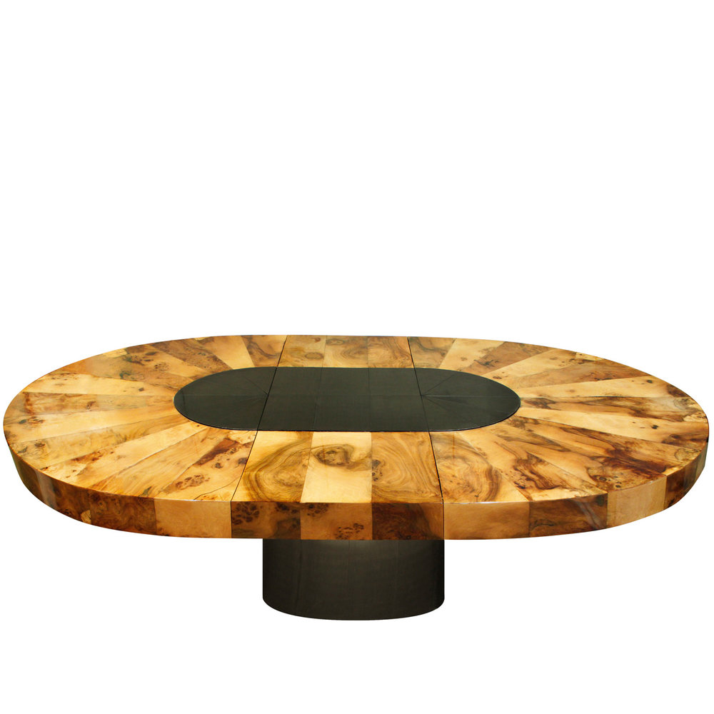 Evans 220 oval burl+black chrome diningtable162 ext fnt.jpg