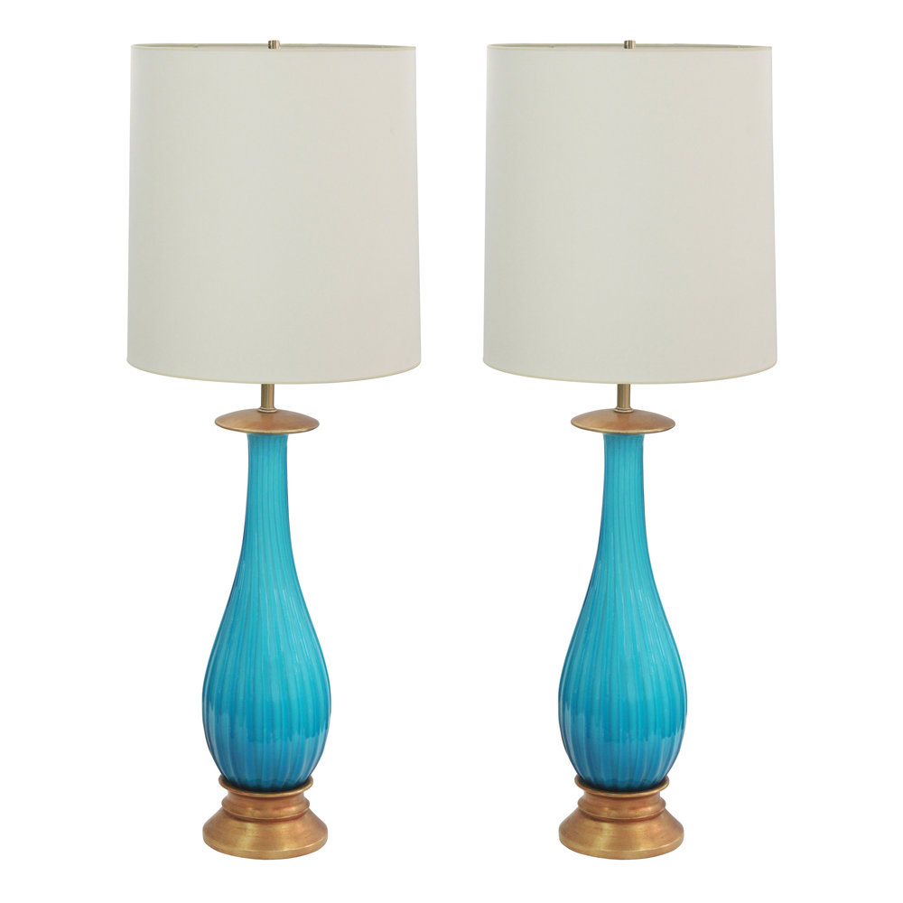 Seguso Pair Of Exceptional Handblown Table Lamps In Deep Aqua Glass