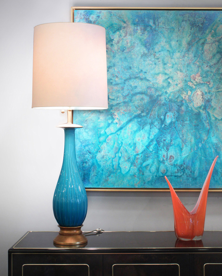 Marbro 95 turquoise Seguso tablelamps2X179 atm.jpg
