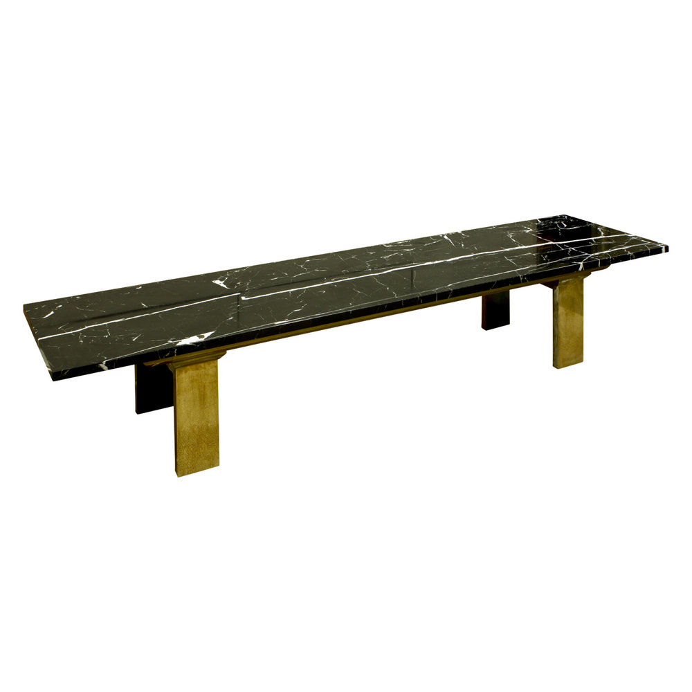 Chic Coffee Table In Black Marble With Brass Legs S SOLD - Marble coffee table with brass legs