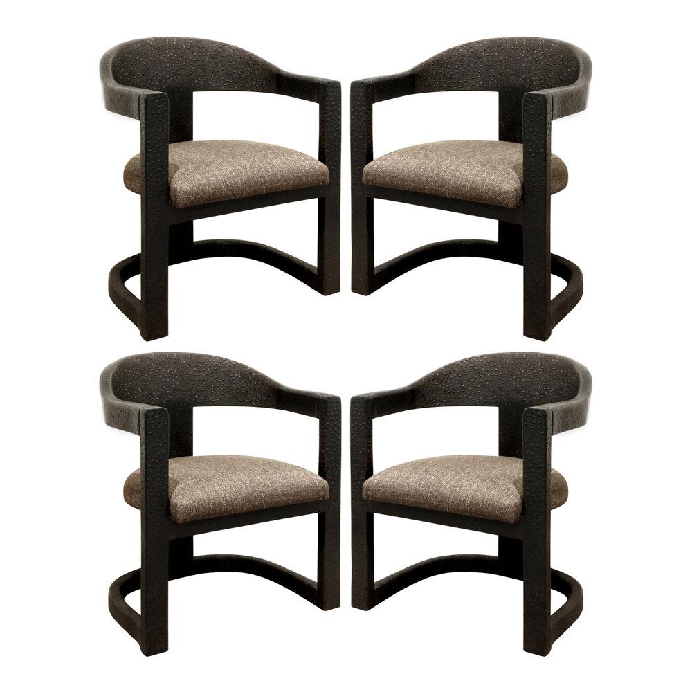 Karl Springer Set Of 4 Embossed Ostrich Onassis Chairs 1984   SOLD U2014 Lobel  Modern NYC