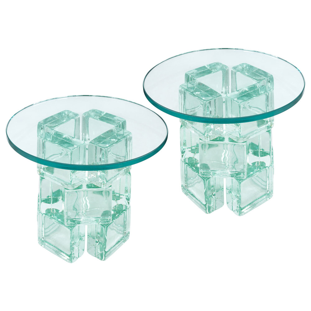 80s 45 IE Rnd Glass Block Occasionaltable137 Hires