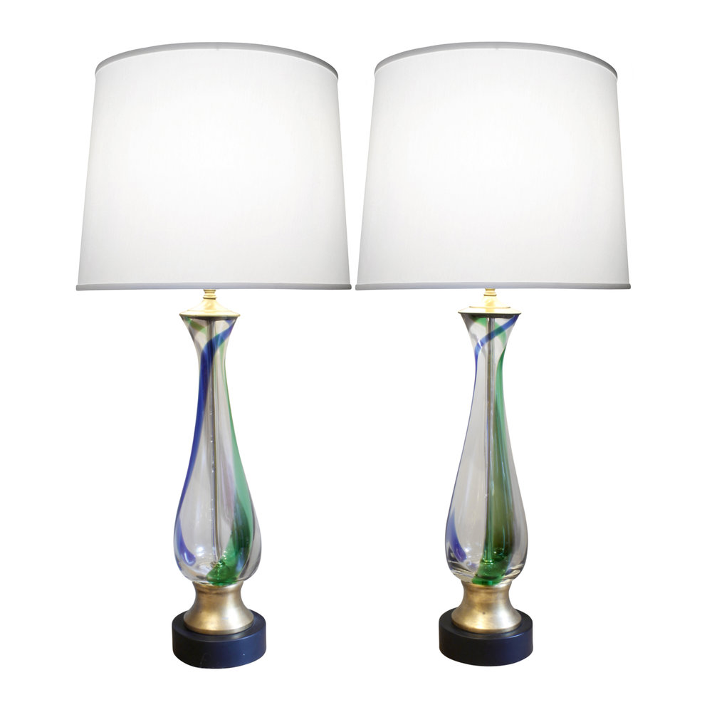 Barovier Toso Attributed Pair Of Hand Blown Table Lamps 1950s