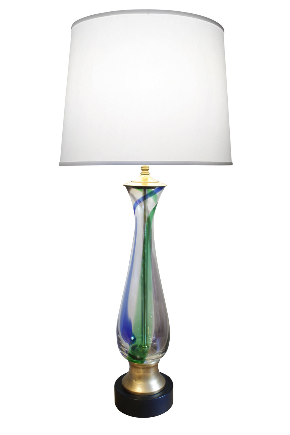 Murano pr red blue green clear table lamps pair main.JPG