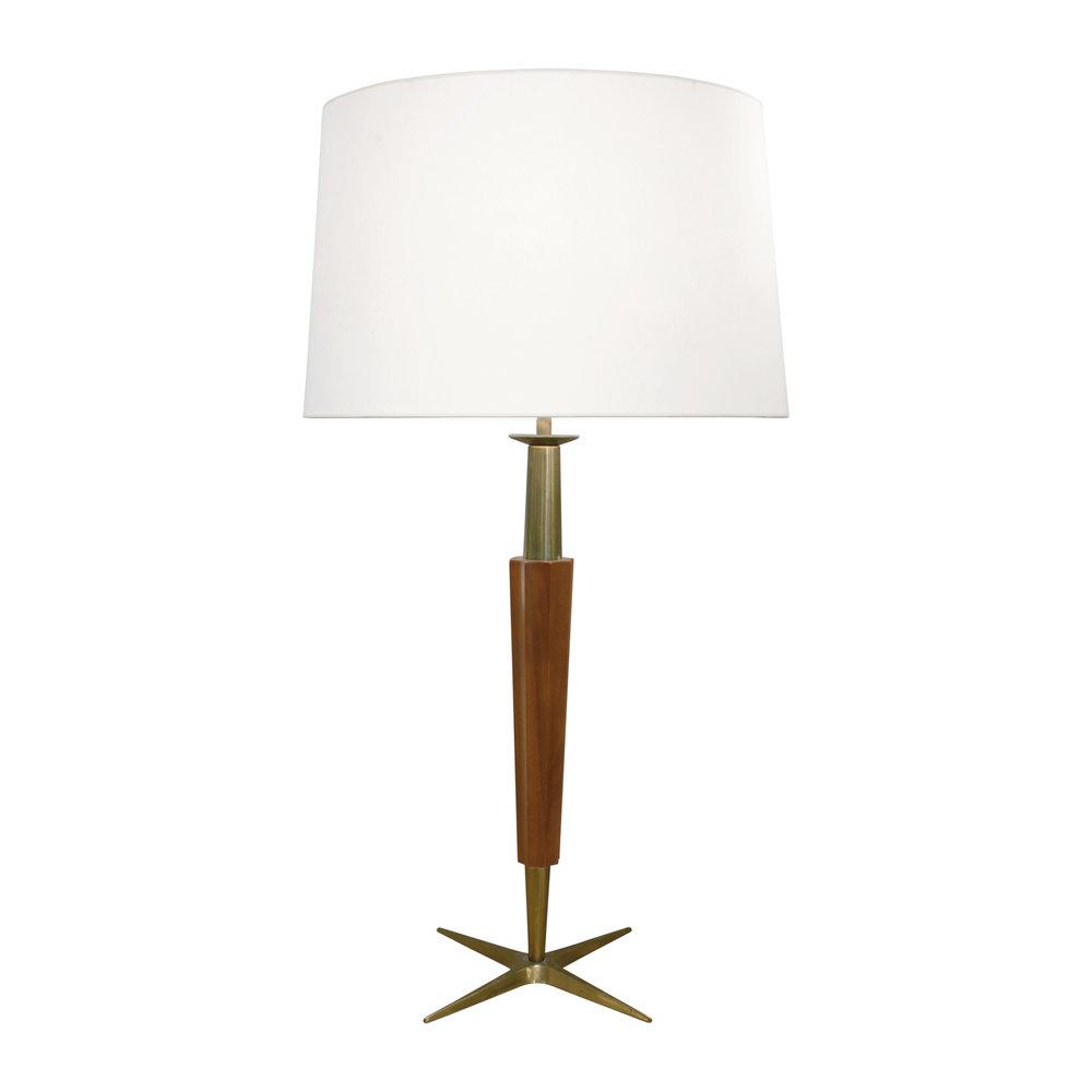 Stiffel fluted walnut brass table lamp 1950s lobel modern nyc aloadofball Images