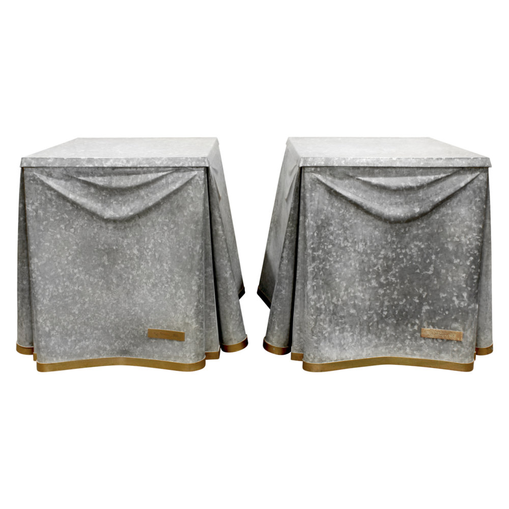 John Dickinson Pair Of Rare Galvanized Steel End Tables 1970s   SOLD U2014  Lobel Modern NYC