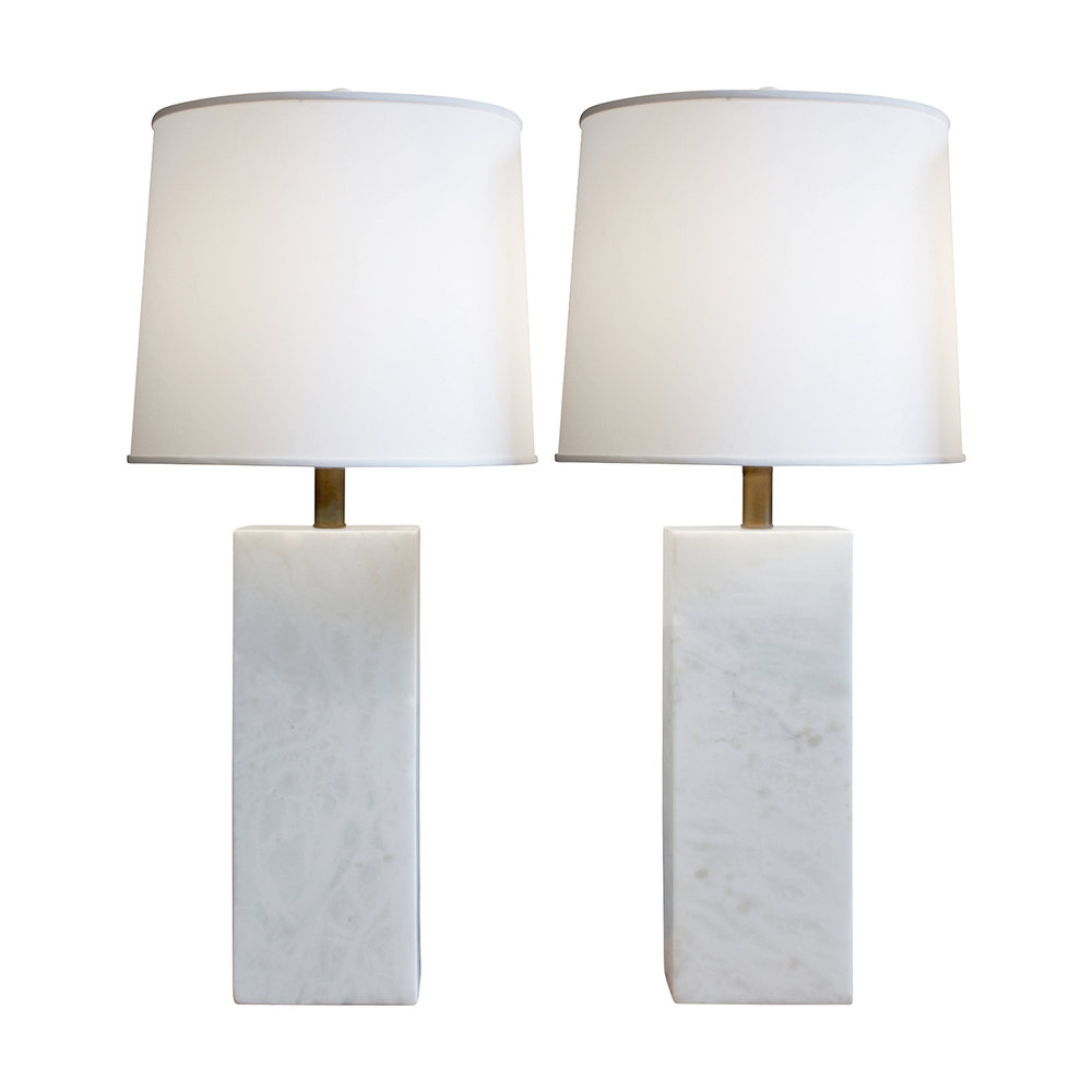 Nessen pair of large white marble block table lamps 1950s lobel nessen pair of large white marble block table lamps 1950s lobel modern nyc aloadofball