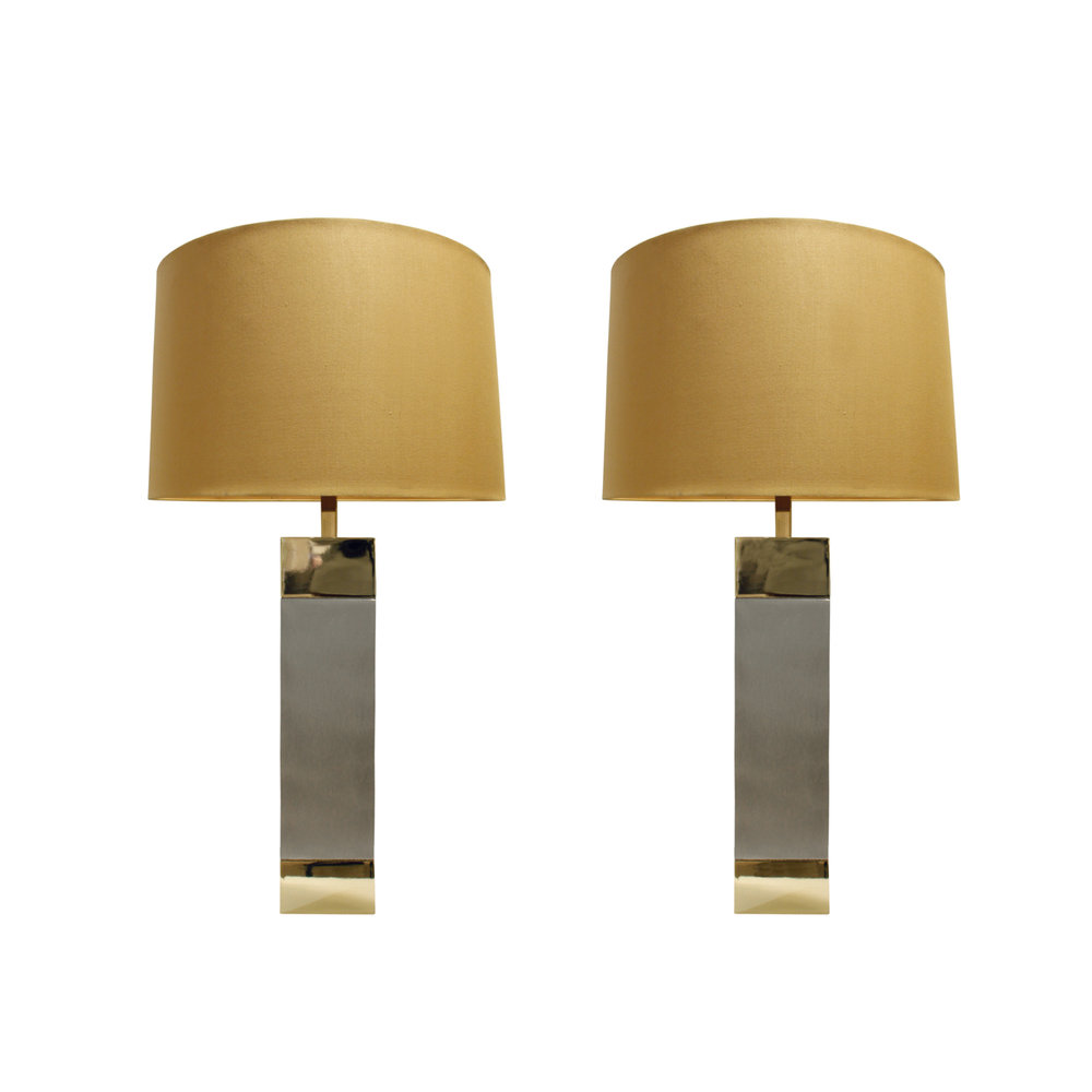 Pair of sleek table lamps in brushed chrome and brass 1960s pair of sleek table lamps in brushed chrome and brass 1960s lobel modern nyc aloadofball Choice Image