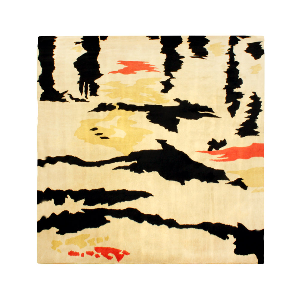 Custom Rug With Colorful Abstract Pattern By Stark Carpet Made Out 100 Virgin Wool American 1960 S Corp Label On Verso