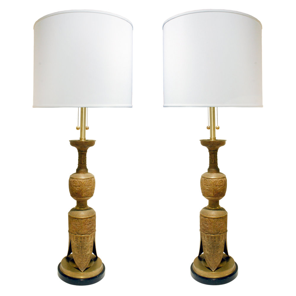 Pair of impressive egyptian style brass table lamps 1960s lobel pair of impressive egyptian style brass table lamps 1960s lobel modern nyc aloadofball Image collections