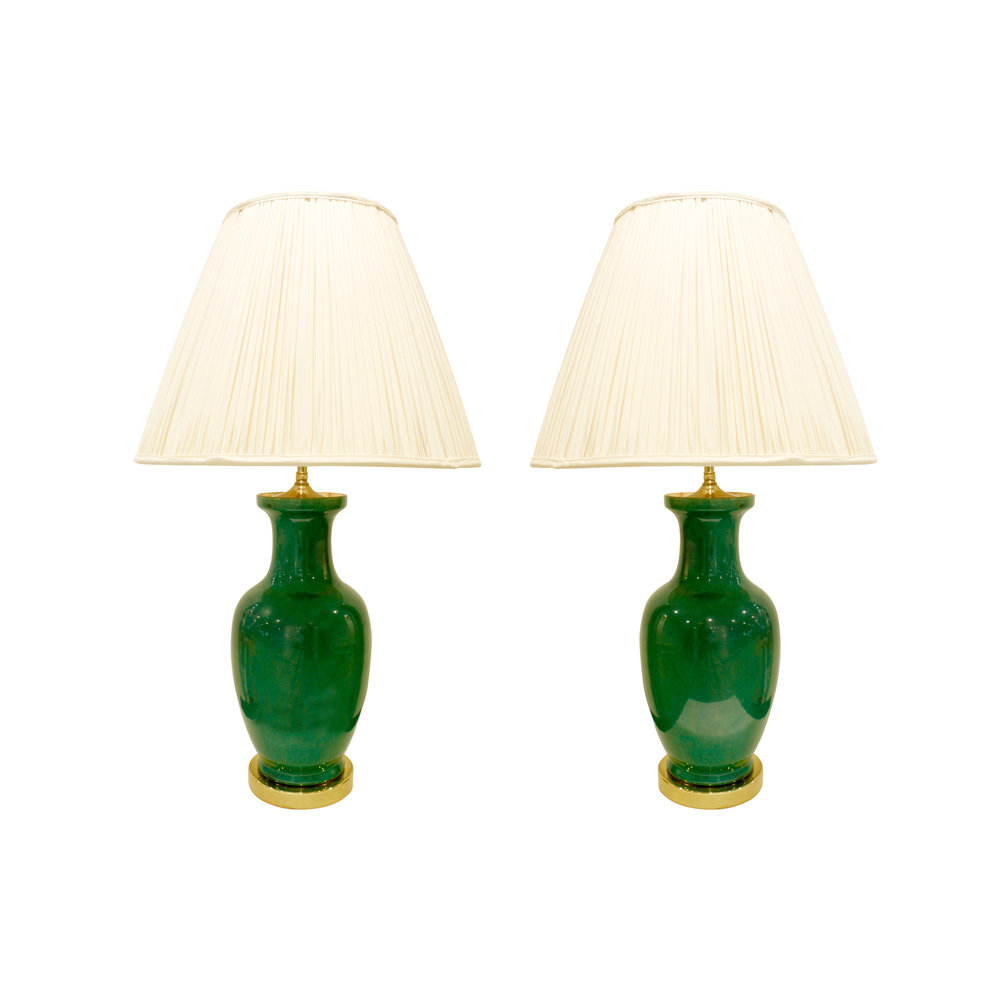 Fine Pair Of Emerald Green Porcelain Table Lamps 1960s   SOLD U2014 Lobel  Modern NYC