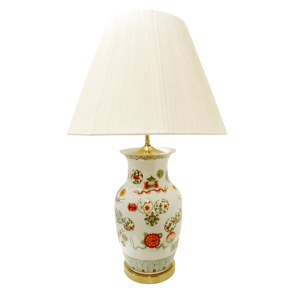 Elegant Hand Painted Porcelain Table Lamp 1960s Lobel Modern Nyc