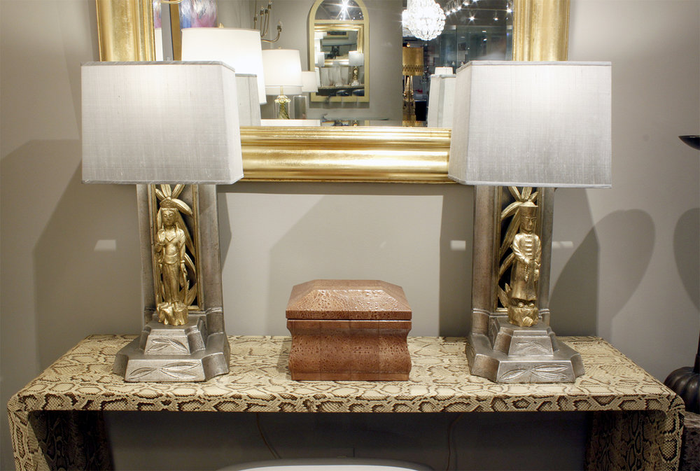 Table lamps with chinese figures decorated in gold leaf and white gold leaf by james mont american 1950s new custom silk shades by lobel modern