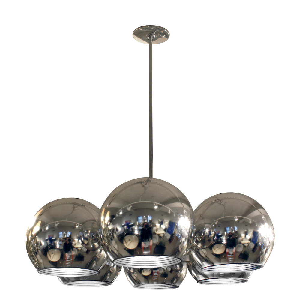 lightolier chandelier with 6 spherical lights 1960s sold lobel