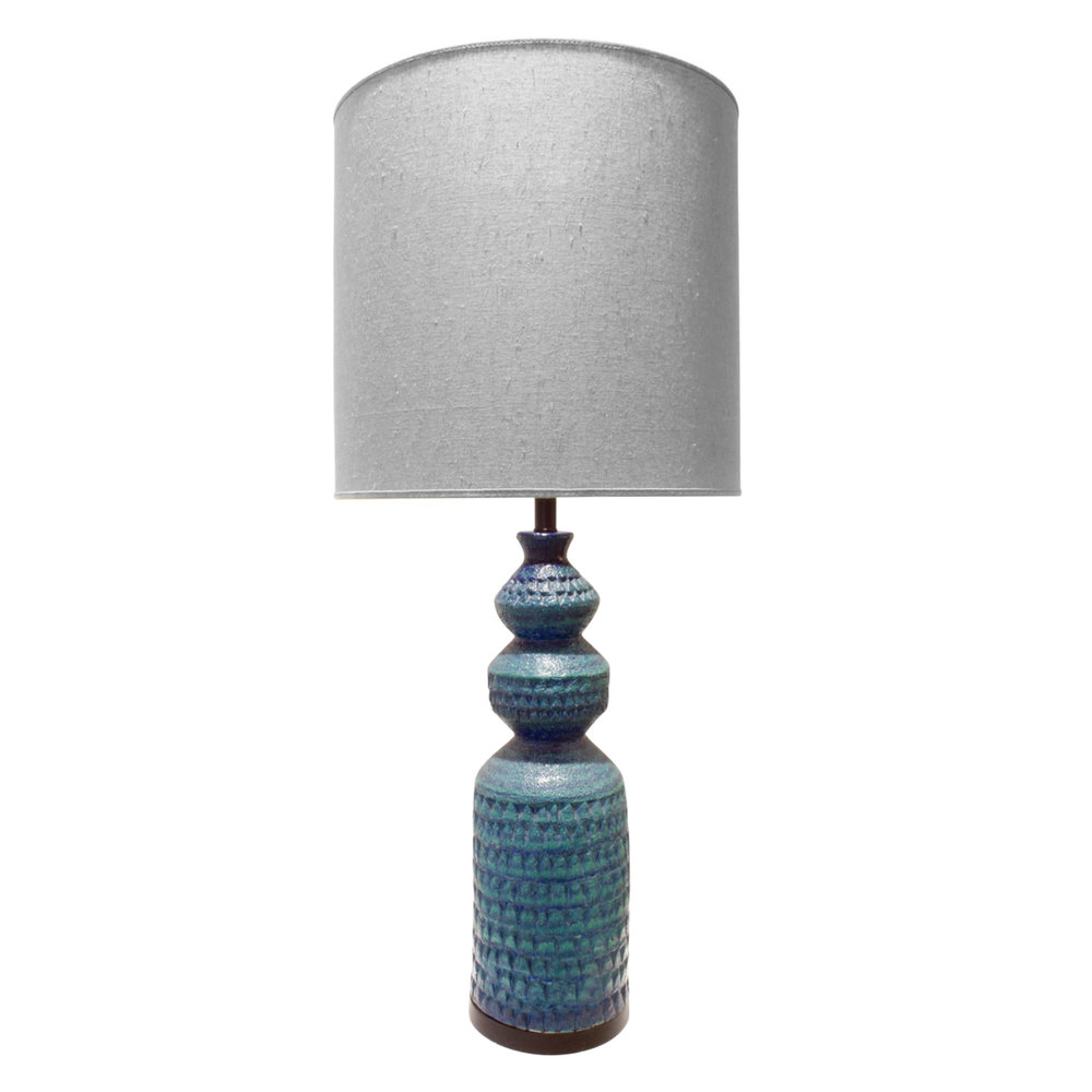 Large Studio Made Heavily Textured Blue Ceramic Table Lamp By Bitossi,  Italy 1950u0027s.