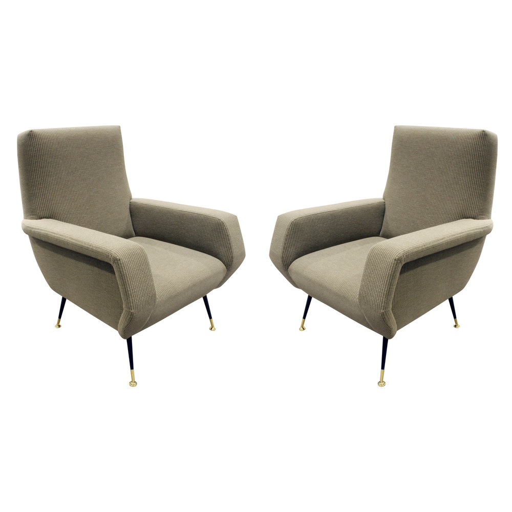 Pair Of Beautifully Sculpted Italian Lounge Chairs 1950s   SOLD U2014 Lobel  Modern NYC