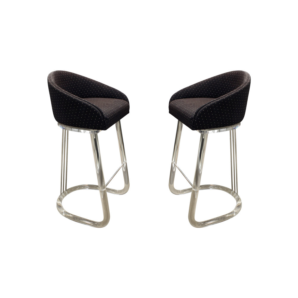 Pair of swiveling bar stools in molded lucite and chrome with upholstered seats by lion in frost american 1970s etched in lucite lion in frost on the