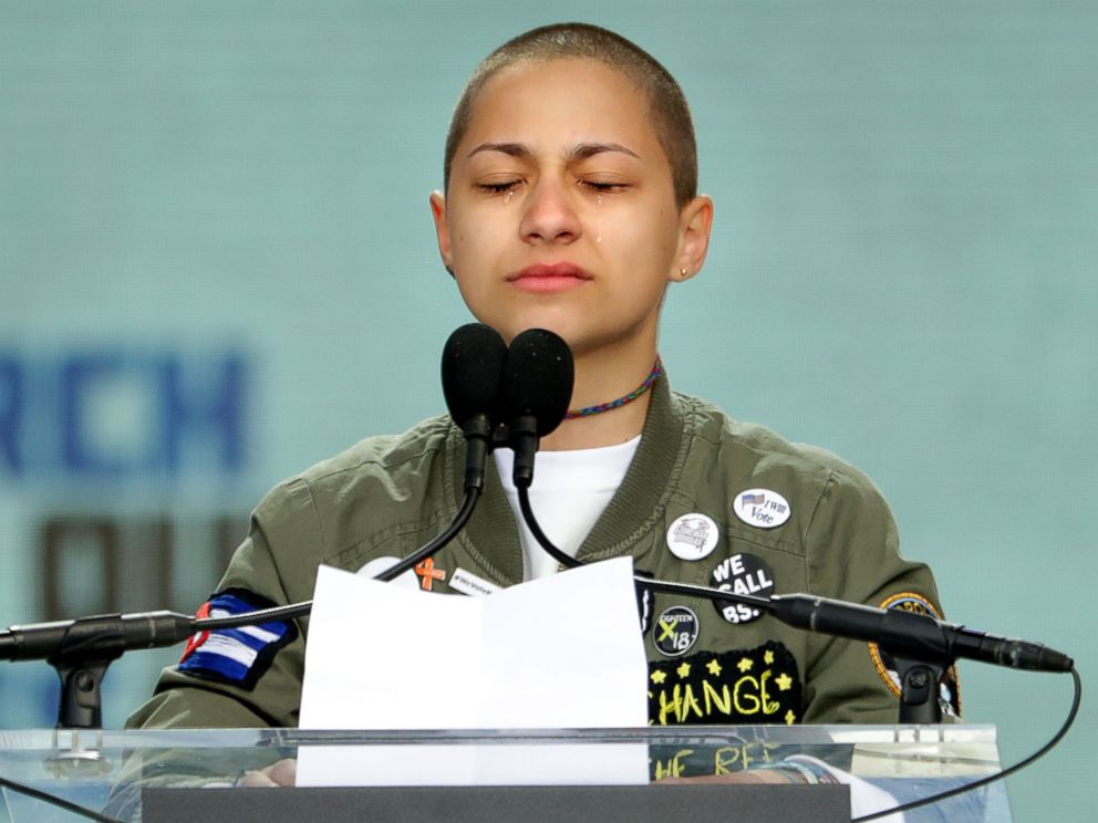 Emma Gonzalez stands in silent tears as she observes 6 minutes and 20 seconds of silence while addressing the March for Our Lives rally, March 24, 2018 in Washington, D.C. - photo by Chip Somodevilla, ABC News/Getty Images
