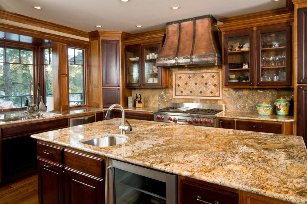 Awesome Granite Kitchen Countertops Design Ideas_beige Granite Kitchen