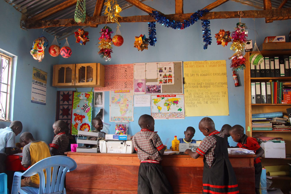 One of the classrooms in the pink school.