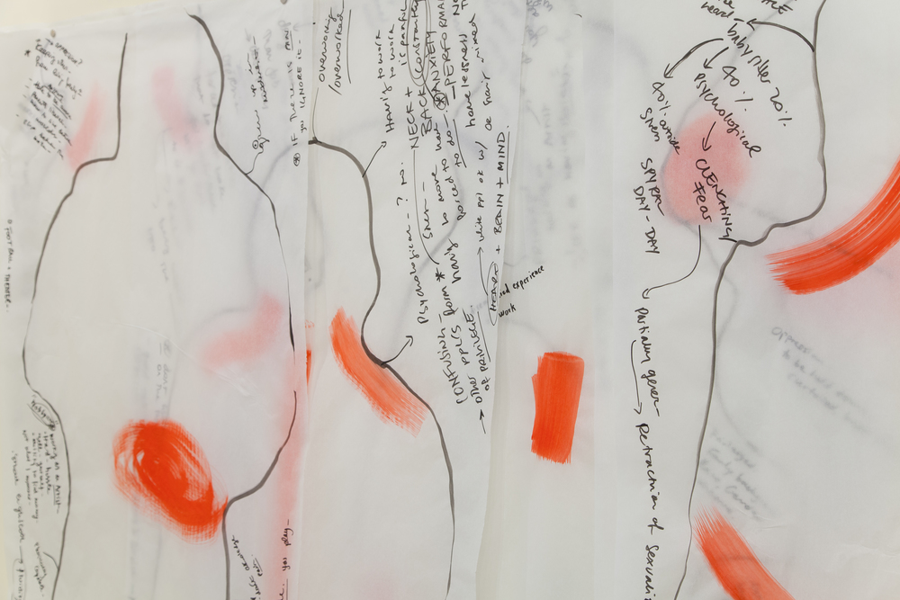 Adelita Husni-Bey. Part of the exhibition Movement-Break, detail view of installation at Kadist Foundation, 2016. Results of encounters on pain held with participants. Ink and pen on medical paper. Photograph courtesy of Husni-Bey.