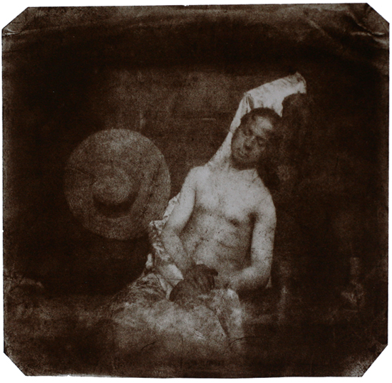 A self-portrait of, or photographic image taken by Hippolyte Bayard of himself, later put on the internet.  Drowned man , 1840. Direct Postive Print.