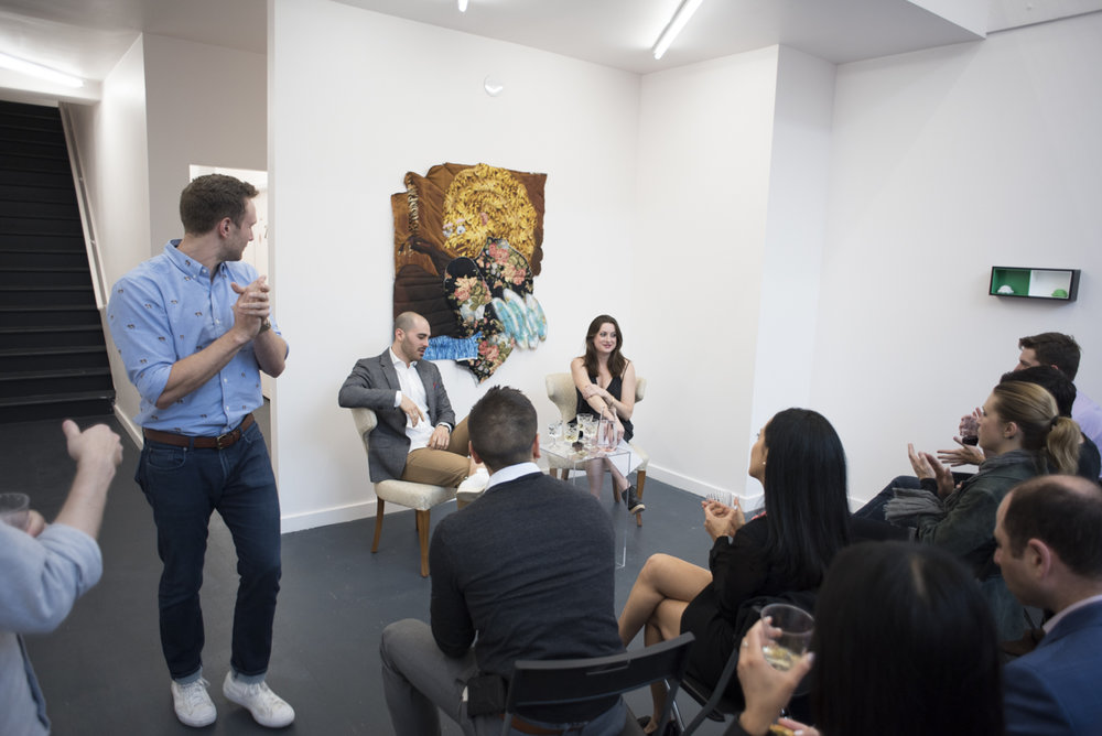 Panel Discussion, Rob Canali and Lauren Licata (co-founder and Director, R/SF projects), Young Collectors Club, R/SF projects, San Francisco, April 29, 2017. Image courtesy of R/SF projects.