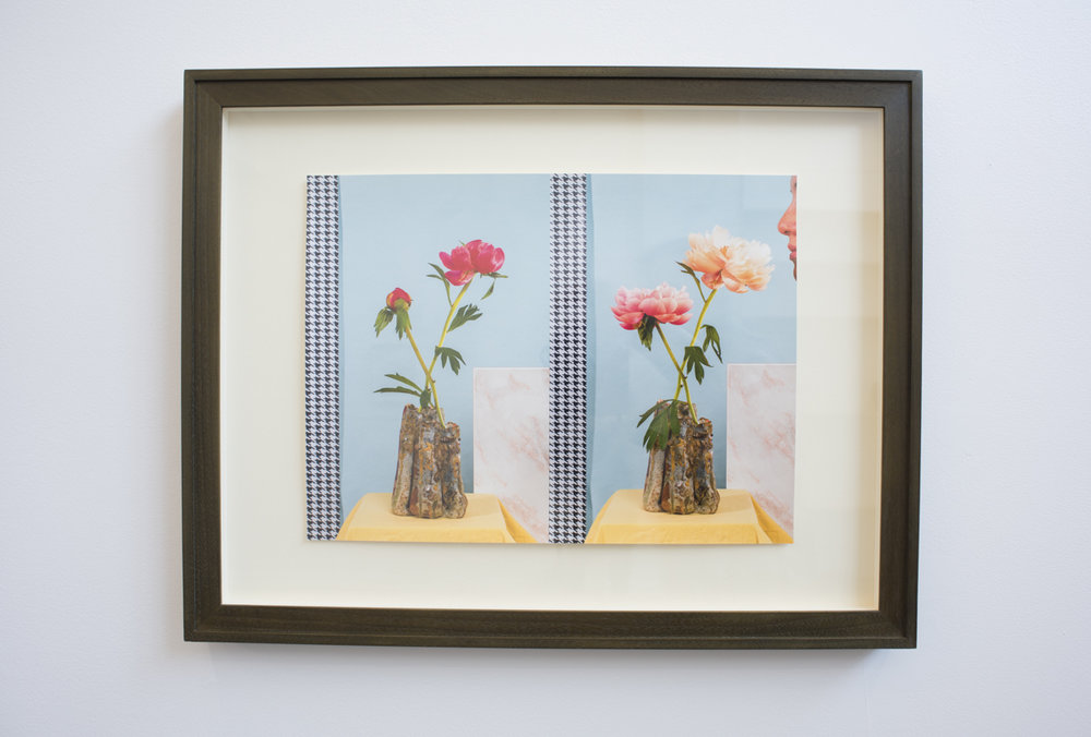 Nando Alvarez-Perez,  Still Life 040316/040616 (Hhoundstooth) , 2016, olive wash walnut frame, plexiglass, eggshell mat board, archival pigment print, 19.5 x 25 inches. Young Collectors Club, R/SF projects, San Francisco, April 29, 2017. Image courtesy of R/SF projects.