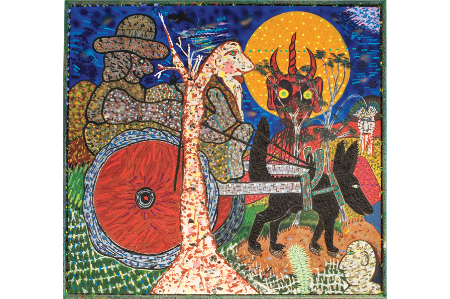 "Roy De Forest,  Dogcart from Hell , 1988; vinyl and acrylic on canvas, 81"" x 75""; Collection of James A. Kidd; © Estate of Roy De Forest / Licensed by VAGA, New York. Oakland Museum of California, http://museumca.org/gallery/dogs-and-other-people-art-roy-de-forest-0#slide-9-field_phot_gallery-4064."