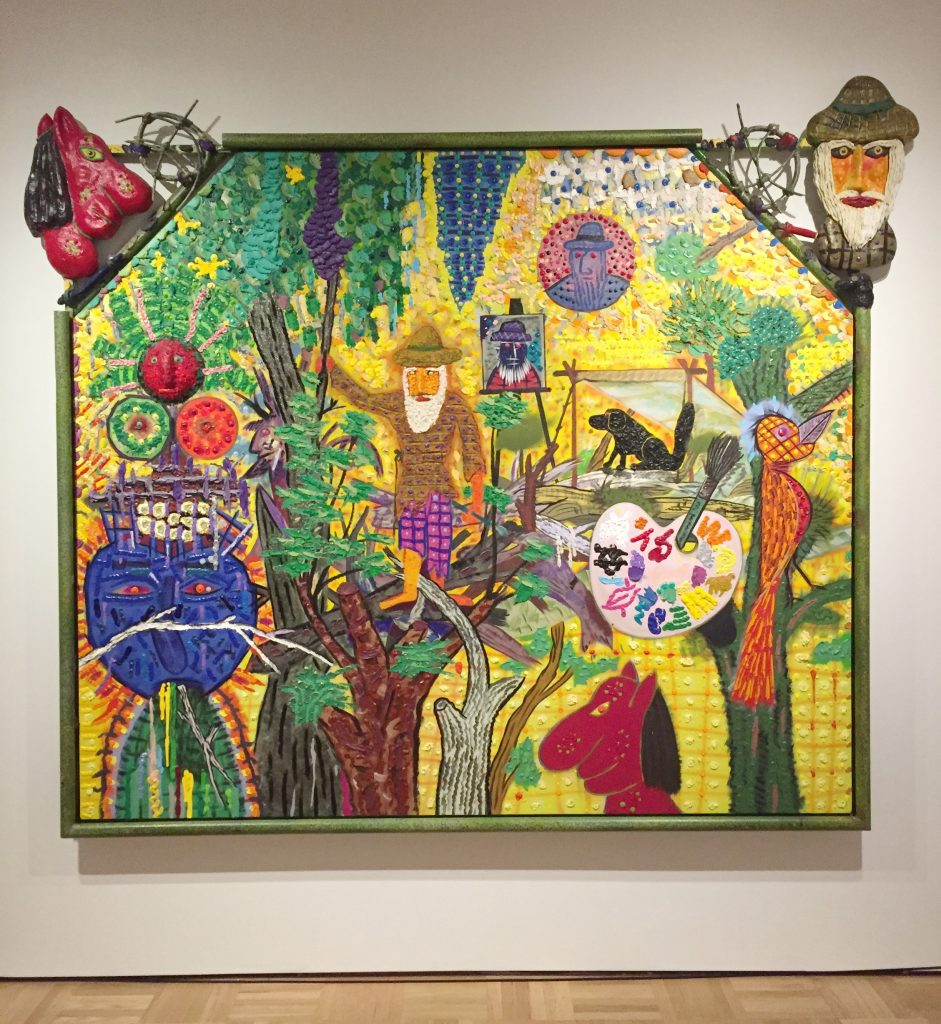 "Roy De Forest, ""Painter of the Rainforest"" (1992), acrylic and vinyl on canvas, 81.5 x 96 inches, collection of the Oakland Museum of California, Gift to the Oakland Museum of California and the Jan Shrem and Maria Manetti Shrem Museum of Art from Herbert, Susan, and James Sandler in memory of Marian Osher Sandler. Image: SF Art Enthusiast.  http://oaklandartenthusiast.com/2017/05/08/of-dogs-and-other-people-the-art-of-roy-de-forest-at-the-oakland-museum-of-california/."