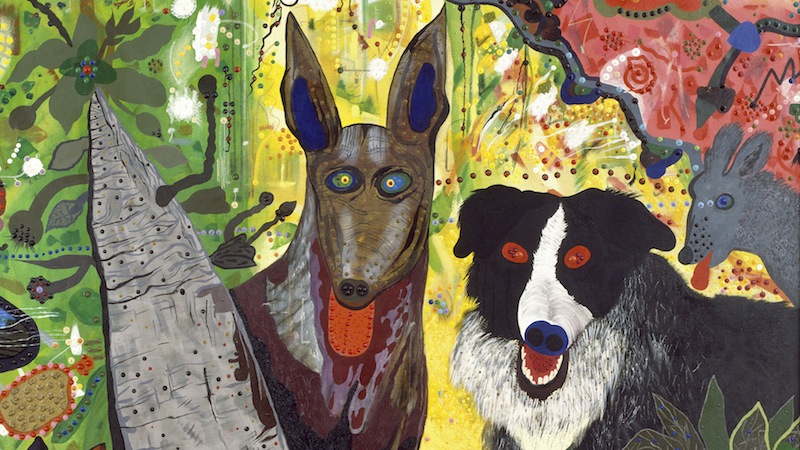 Roy De Forest,  Country Dog Gentlemen  (detail), 1972; polymer on canvas; 66 3/4 x 97 in. Image: San Francisco Museum of Modern Art.  https://www.sfmoma.org/artwork/73.32 .