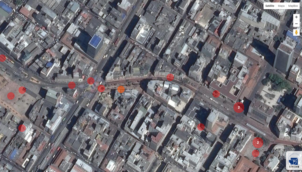 Screengrab from CRESSON  (urban research laboratory in France). when exploring in the map Bogotá's public spaces. Each red dot contains a sound fragment of the urban ambiance of the specific place. Image courtesy of the Author. http://www.cartophonies.fr/