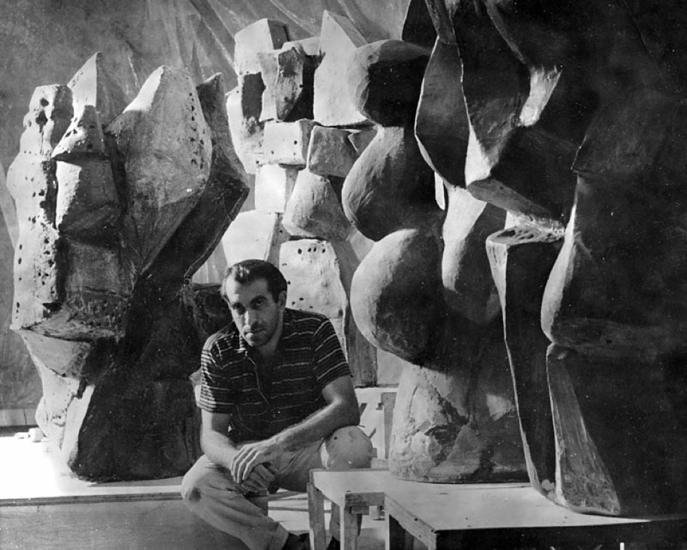 Peter Voulkos at his Glendale Boulevard studio. Image: the getty museum.  http://blogs.getty.edu/pacificstandardtime/files/2011/08/PeteAtGlendale-Blvd-studio_1959.jpg.