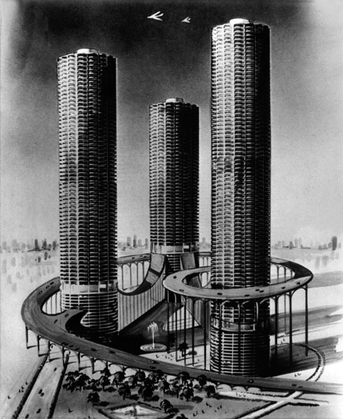 Fantastical interpretation of Marina City sketched by George Charney.