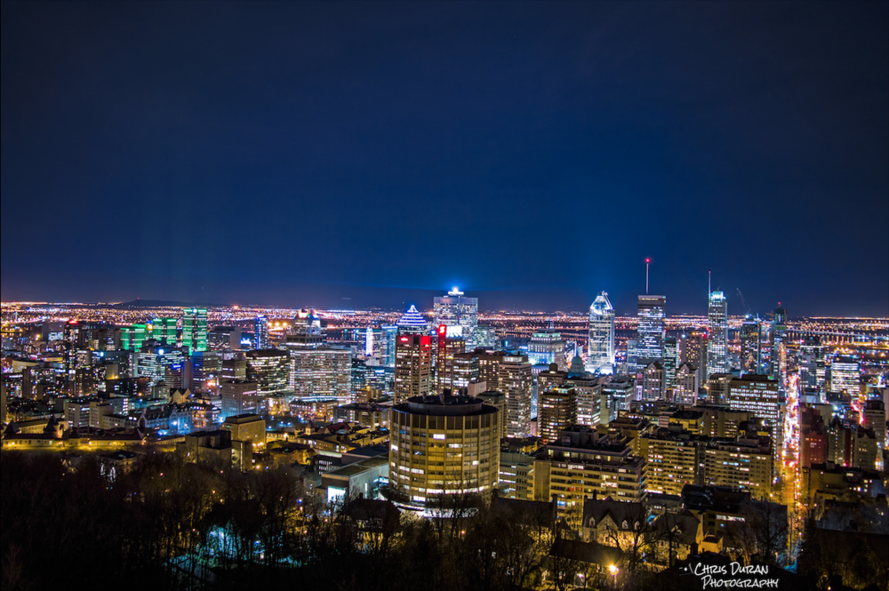Downtown Montreal Skyline view from Mount Royal.