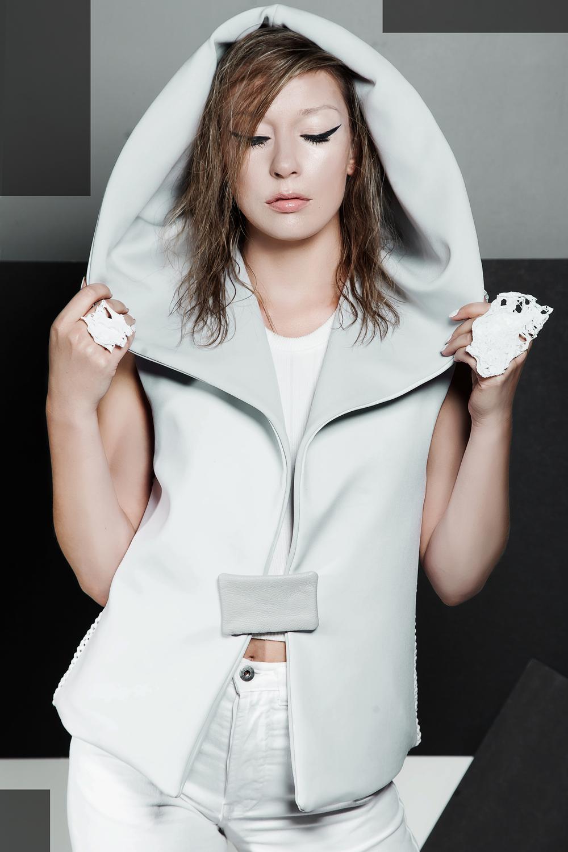 MALAIKA reversible vest & white Moon rings. Styling and photography by Liz Besanson Model Elena Schwabe