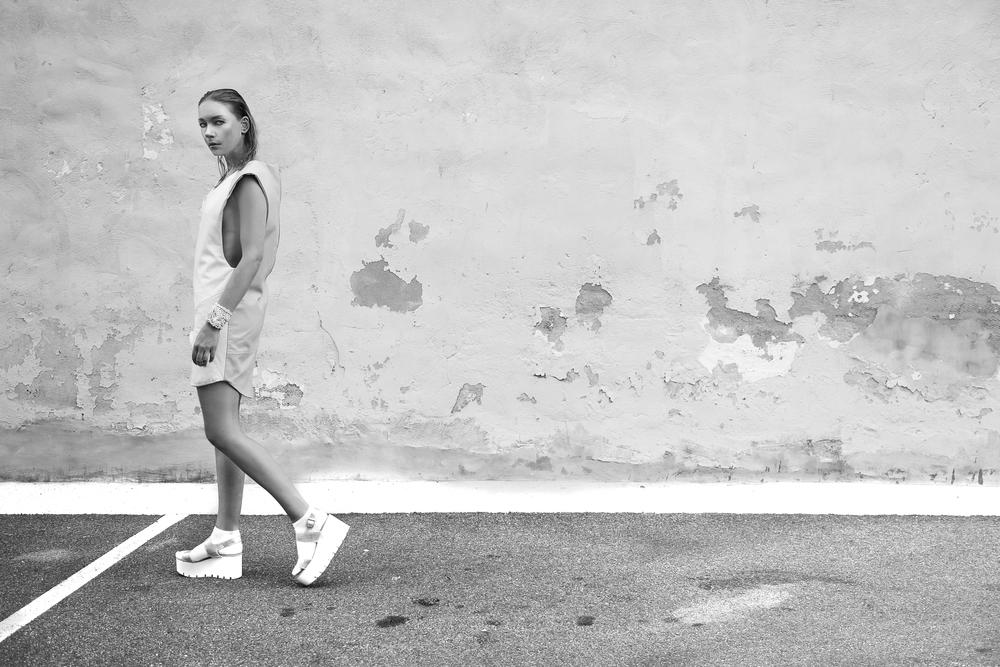 MALAIKA 3D leather dress styled with MALAIKA 3D bracelets Styling and photography by Liz Besanson Model Elena Schwabe