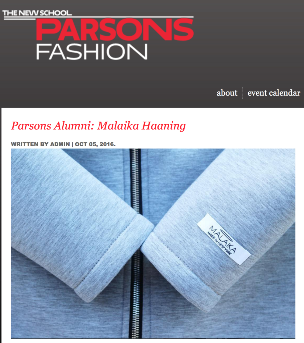 Find more on the Parsons blog :  http://fashion.parsons.edu/blog/parsons-alumni-malaika-haaning/