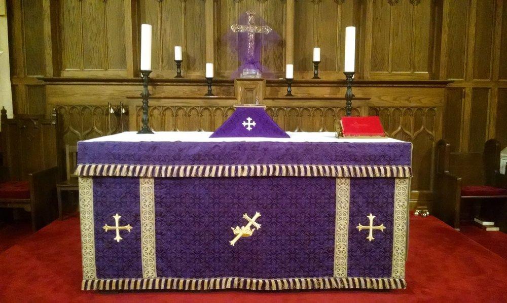 The Lenten Array for Ash Wednesday.