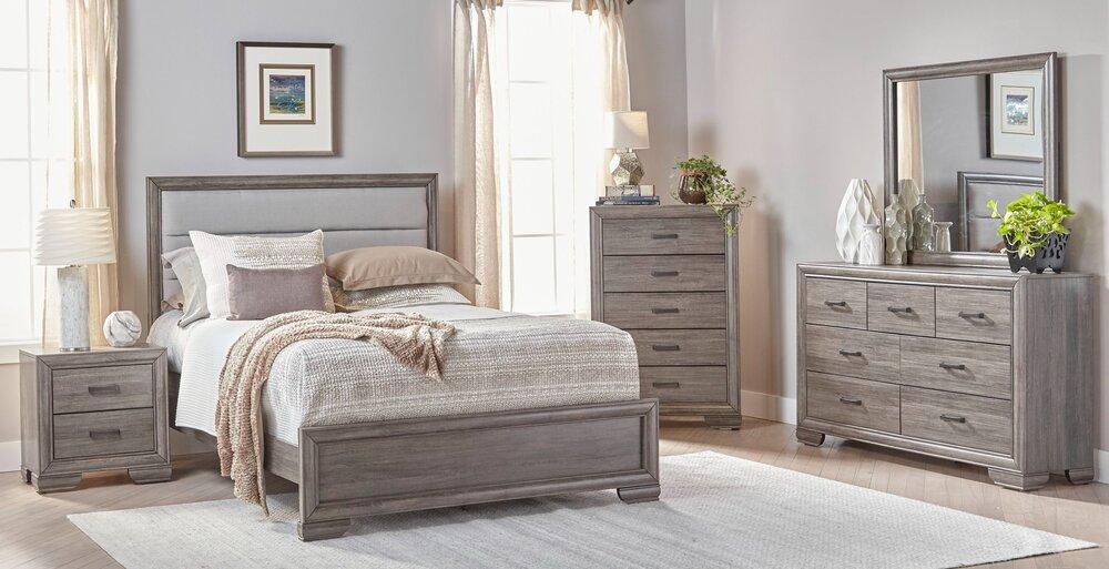 Upholstered Grey Bedroom Set