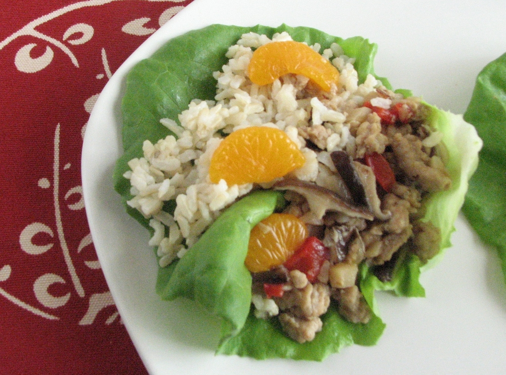 Asian Ground Chicken Lettuce Wraps.