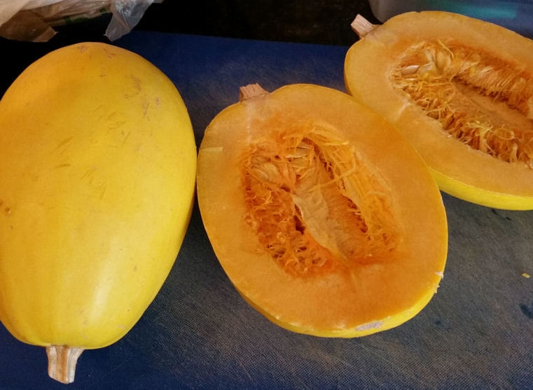 Cut squash in half lengthwise.